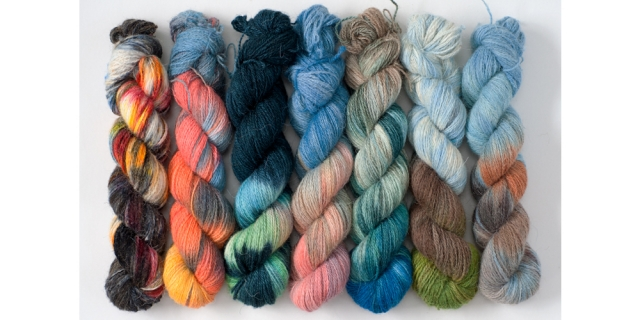 hand-dyed Orkney North Ronaldsay wool by Jo Thomson