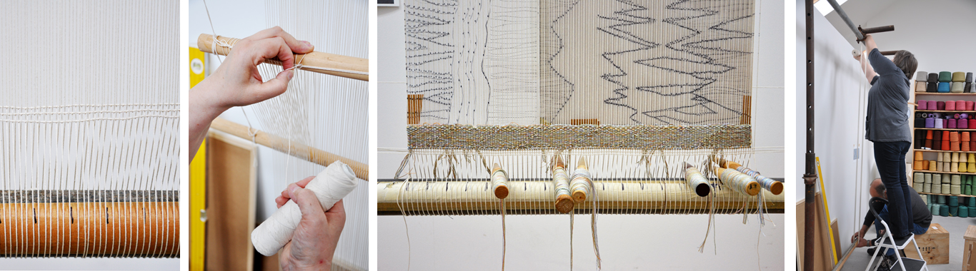 setting up tapestry loom details